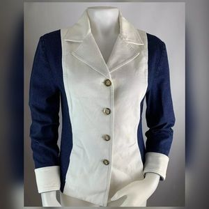 St. John Denim Jean Jacket Blazer Color Block
